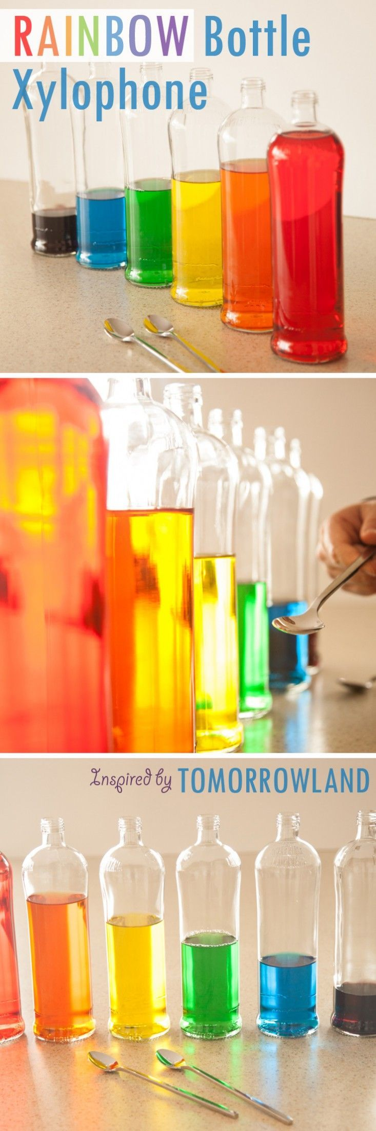"""DIY Rainbow Glass Bottle Water Xylophone - fun for the whole family to play, especially young musicians and dreamers! Inspired by Disney""""s Tomorrowland film."""
