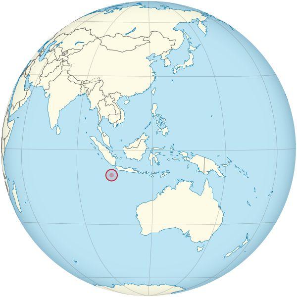 Christmas Island on the globe (Southeast Asia centered).