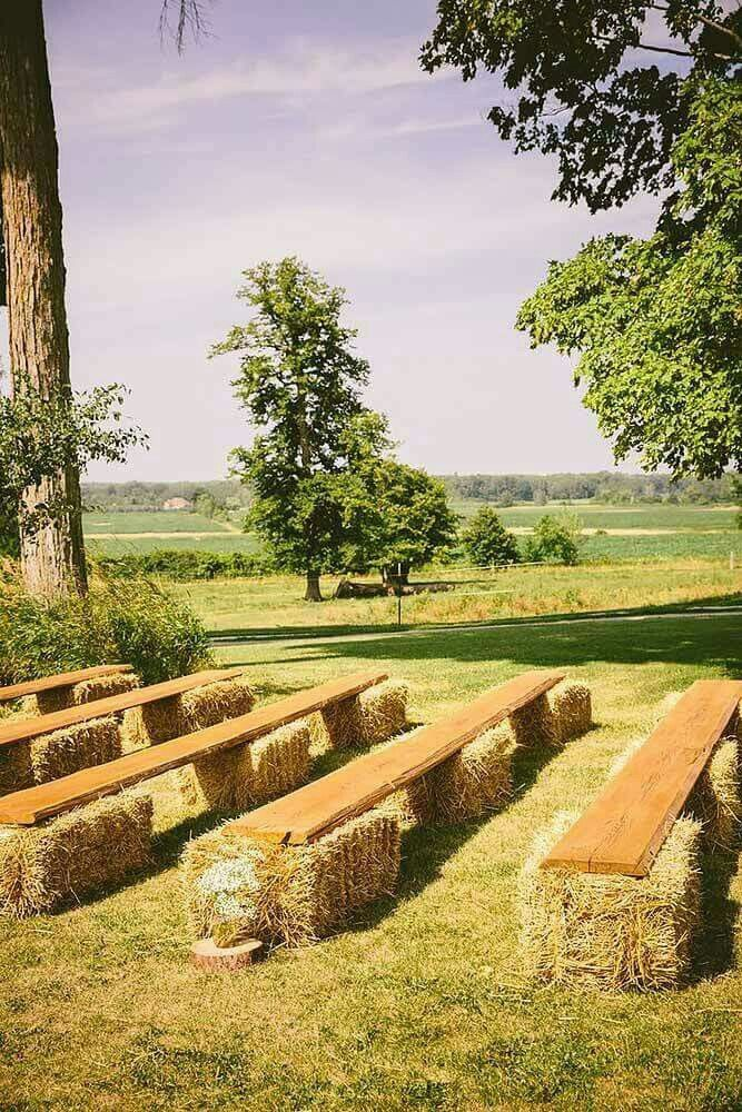 Simple rustic ceremony seating