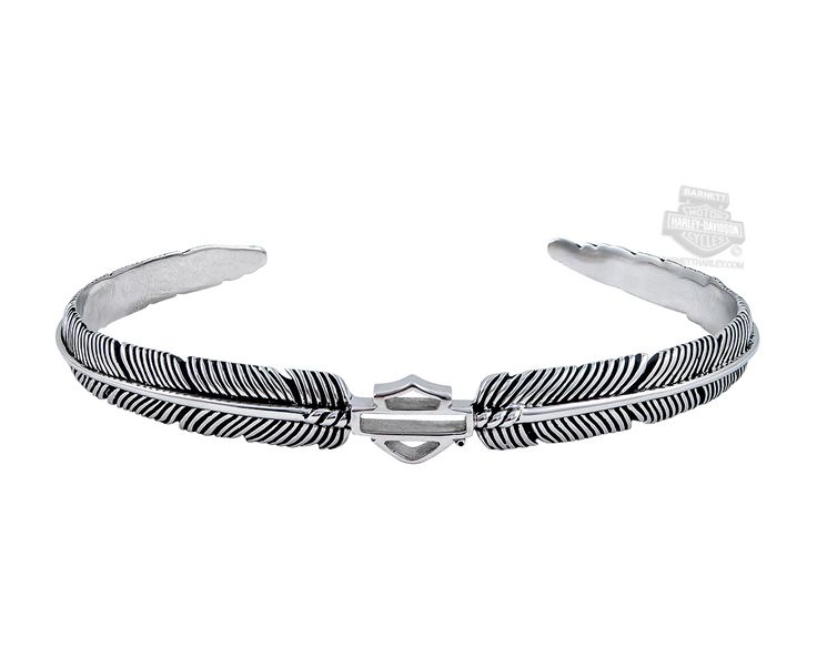 Harley-Davidson® | HDB0359 | Harley-Davidson® Womens .925 Silver Boho Feather with B&S Cuff Bracelet by Mod Jewelry®