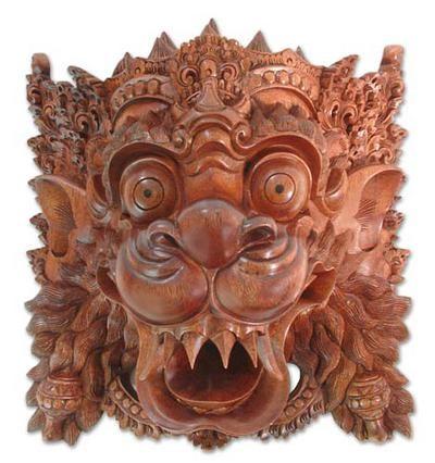 Indonesian Cultural Wood Mask - Lion Spirit | NOVICA  Barong!!!