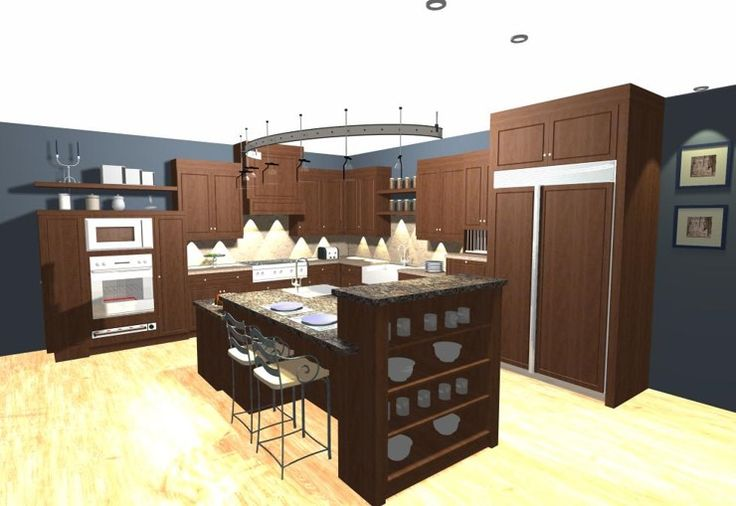 Transitional Kitchen with large multi level island, floating shelves, built-in appliances and modern light fixture