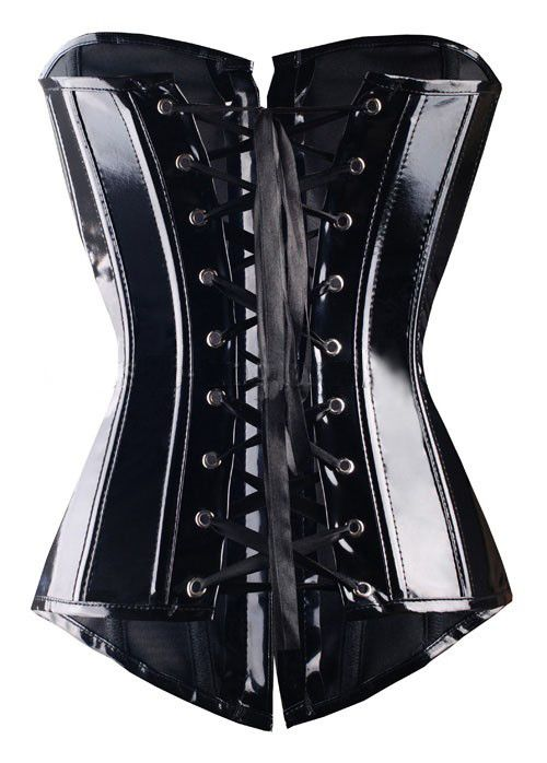 X Women Black Size S-2XL Steampunk Lace up Body Corsets and Bustiers Overbust Brocade Gothic HOT Beauty Agent Read sized chart