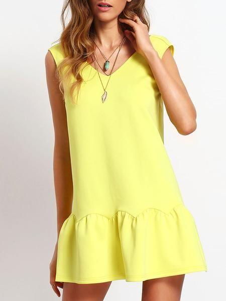 yellow dress, backless ruffle dress, drop waist dress - Lyfie