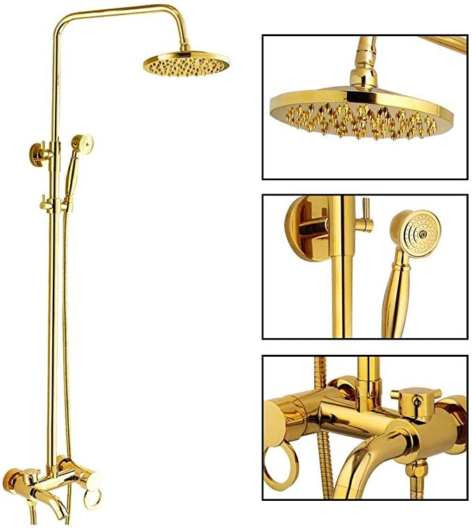 Polished Gold Shower Set 8 Inch Rainfall Shower Head Brass Shower Faucet Kit With Hand Held Spray High End Luxury Shower Faucet Shower Set Rainfall Shower Head Gold hand held shower head