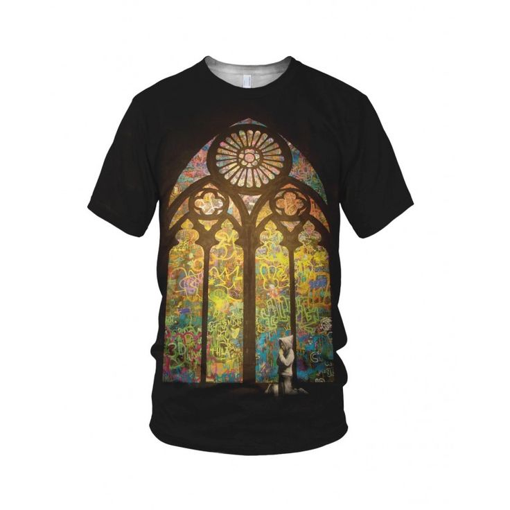"""Stained Glass Window Graffiti, from the collection of """"Hand Printed"""" Designs by the prolific street artist known as """"Banksy"""".   More Designs and Styles on the Store: http://www.globalmusicollective.com/store/?product_cat=banksy"""