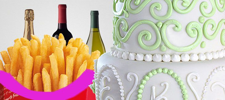 wedding cake, chips, wine