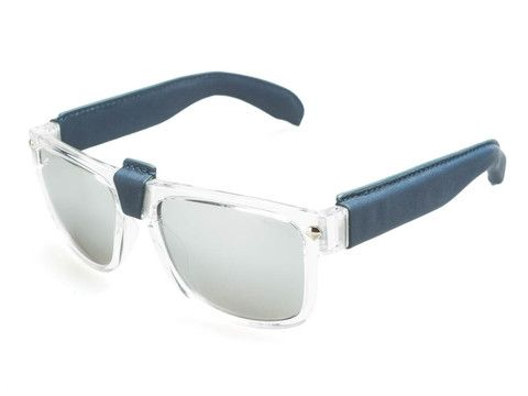 NED KELLY - TRANSPARENT FRAMES / MIRROR LENSES, BLUE LEATHER TEMPLES AND BRIDGE