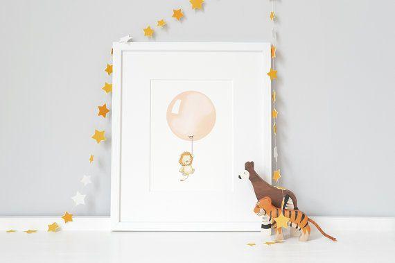 Balloon Print, Nursery Art, Lion Picture, Modern, Minimal, Pastel, Apricot, Unisex, African, Personalised, Safari animal, Childrens Wall Art