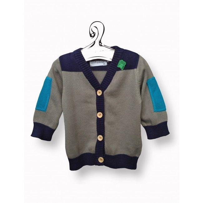 Bio Bio Bimbo - Cardigan baby navy Capo d'abbigliamento in cotone biologico certificato GOTS. Per un look casual e pratico, è anallergico, confortevole e morbido, si lava in lavatrice.