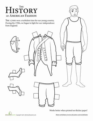 Second Grade Paper Dolls History Worksheets: Colonial Soldier Paper Doll: 1700s