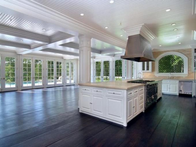 Huge kitchen space..love the floors and windows too!