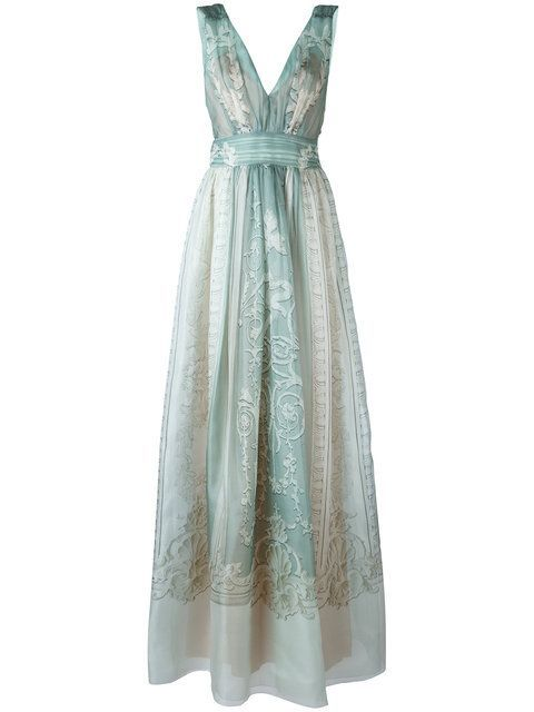 Alberta Ferretti's Sweet Aqua & Ivory Silk Botanical Print Dress. This is just sooo Pretty. It has a Sleeveless Gathered Bodice with a Deep V-Neck and Back. The Skirt is Gathered and it's all cinched together with a Wide Self Belt. I'm showing it with Exquisite Vintage French Aquamarine, Peridot & Diamond Earrings & Bracelet & 2 Peridot Rings. Finish with Ivory Sandals & Embellished Crocodile Clutch (It's all on this board). You'll never look Prettier. - Gabrielle