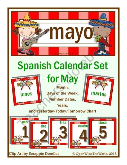 Spanish Calendar Set for May