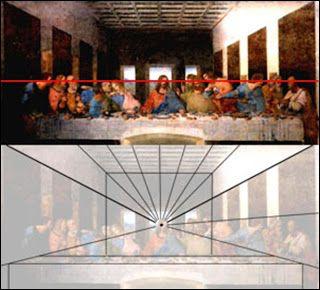 obra de Da Vinci, o Ponto de Fuga fixa-se sob a cabeça de Cristo. Pode-se, também, observar a Linha do Horizonte (em vermelho) que constrói a sensação da perspectiva e, ainda, as Linhas de Fuga (em preto) que convergem ao ponto de fuga provocando sensação visual de profundidade das faces trabalhadas na arte.