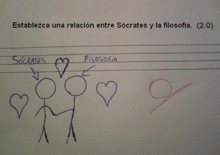 Respuestas graciosas de un examen donde están dos dibujos con bolitas y palitos