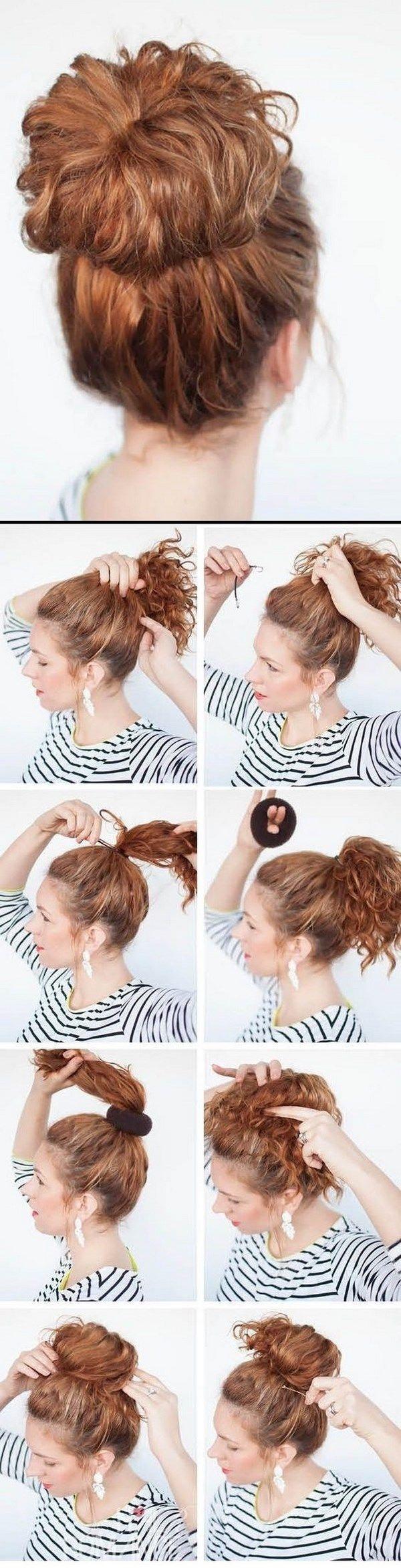 peinado sencillo para cabello rizado