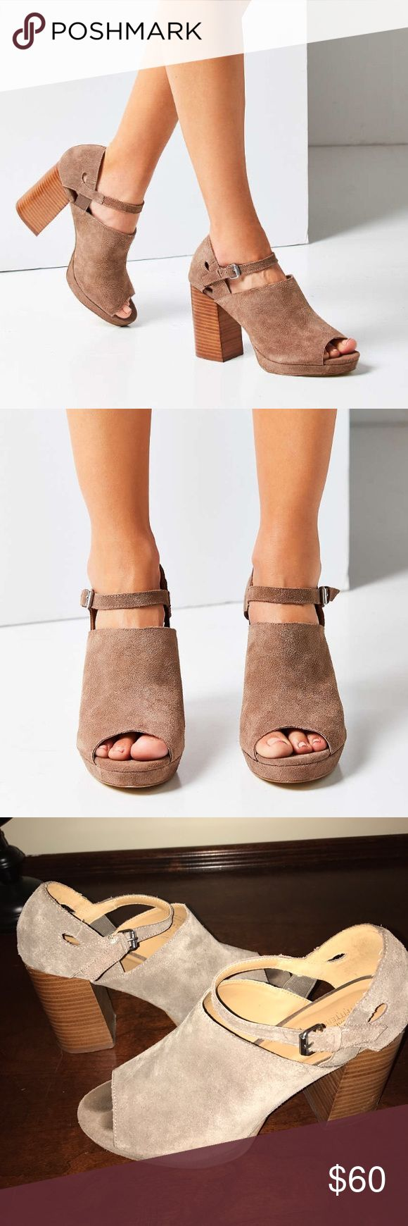 """UO Suede Stacked Heels Janis Suede Stacked Heels by Urban Outfitters. GORGEOUS and really comfortable!!! When I wore these, I got a million compliments. They are just large on me, sadly. 4"""" heel with a platform. The strap at the ankle is adjustable. True to size! Urban Outfitters Shoes Heels"""