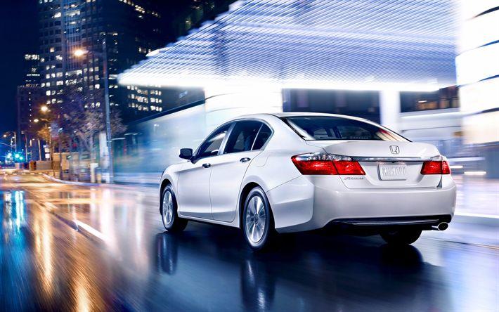 Download wallpapers Honda Accord, 2017, new cars, night lights, Japanese car, sedan, white Accord