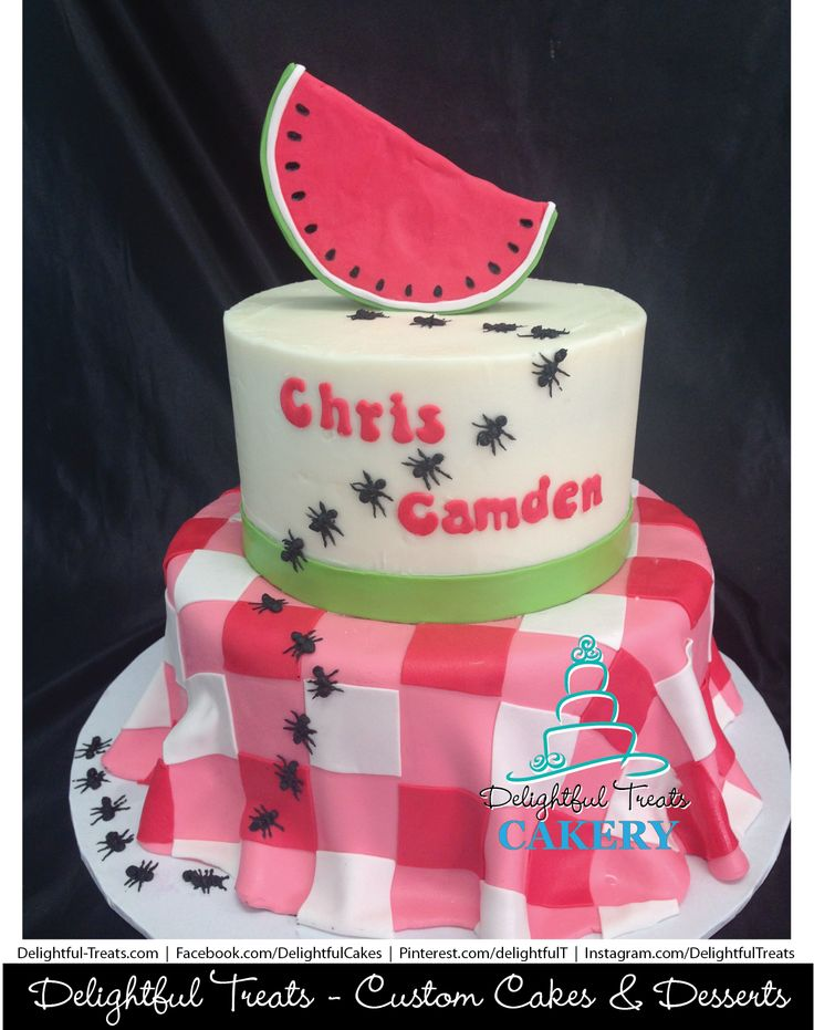Two Tier Picnic Themed Birthday Cake With Red And White