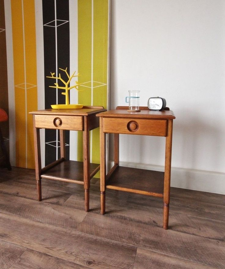 The tables have a smooth spacious top surface as well as a handy shelf below. Each table stands on 4 solid teak legs and has a single drawer that opens freely. They are suitable as bedside tables as well as side tables in the living room. | eBay!