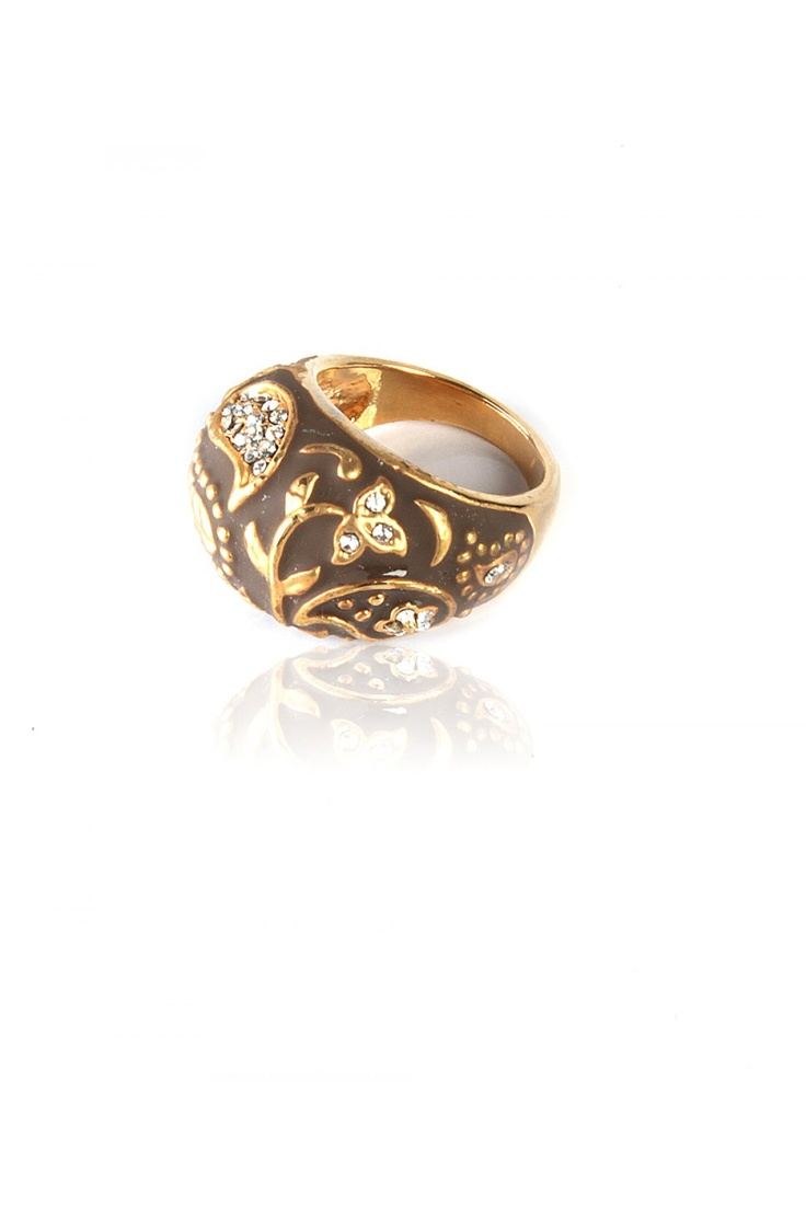 Abstract Art Dome Ring -  Dome Shaped Ring With Abstract Art, Crystal Encrusted In Paisley Design, Matt Brown Enamel Coating, Perfect For Cocktail Event, Gold Finishing................ - Rs. 599.00