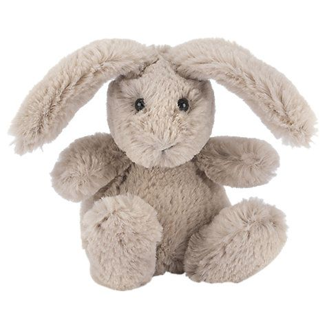 This beautiful Little Bunny Soft Toy will hop into your tot's heart. Its fuzzy polyester fur covers its floppy ears, huggable body and adorable face. This is a perfect snuggle-buddy for a child from birth.
