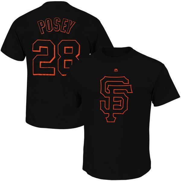 Buster Posey San Francisco Giants Majestic Hero Time Name & Number T-Shirt – Black - $27.99