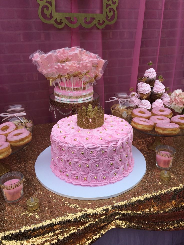First birthday princess pink and gold cake   First ...