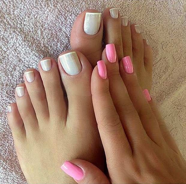 11. Matching Pastel Pedicure & Manicure For spring, we're feeling a French pedicure with a twist! Pastel colors are so fun, especially if you pair them with gold. Gold tips make the pastel colors stand out even more. 12. Red Pedicure with Rhinestones One of the best ways to accent your spring outfit is with …