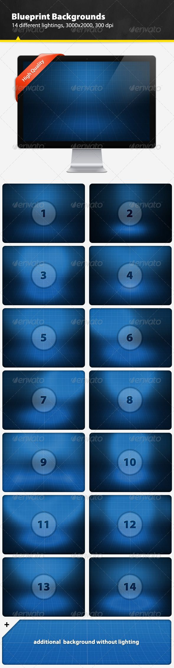 Blueprint Backgrounds  #GraphicRiver                	 High quality blueprint backgrounds in 15 different lightings. Can be used in product presentations, mock-ups, web design & print. All backgrounds are in 3000×2000 pixels and 300 dpi.  This file contains:  15 different lightings blueprint backgrounds  3000×2000 pixel resolution  300dpi  separate jpg's  layered psd  Recommended Items    9 Hand-Picked Logo Templates Of The Week ( more… )          Looking For Graphics?                 Looking…