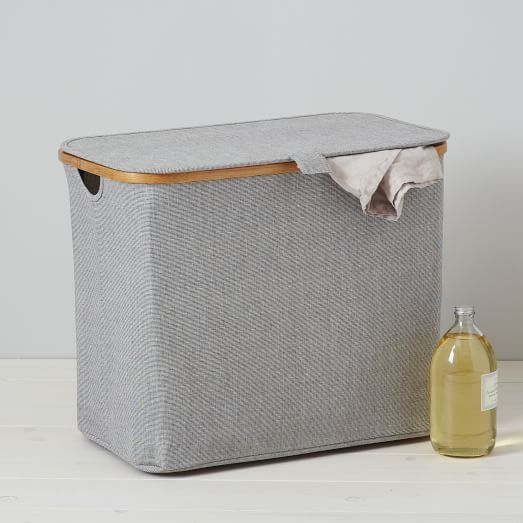 Bamboo rim laundry hamper rectangular west elm 13 w x 21 d x 17 7 h 49 laundry - West elm bathroom storage ...