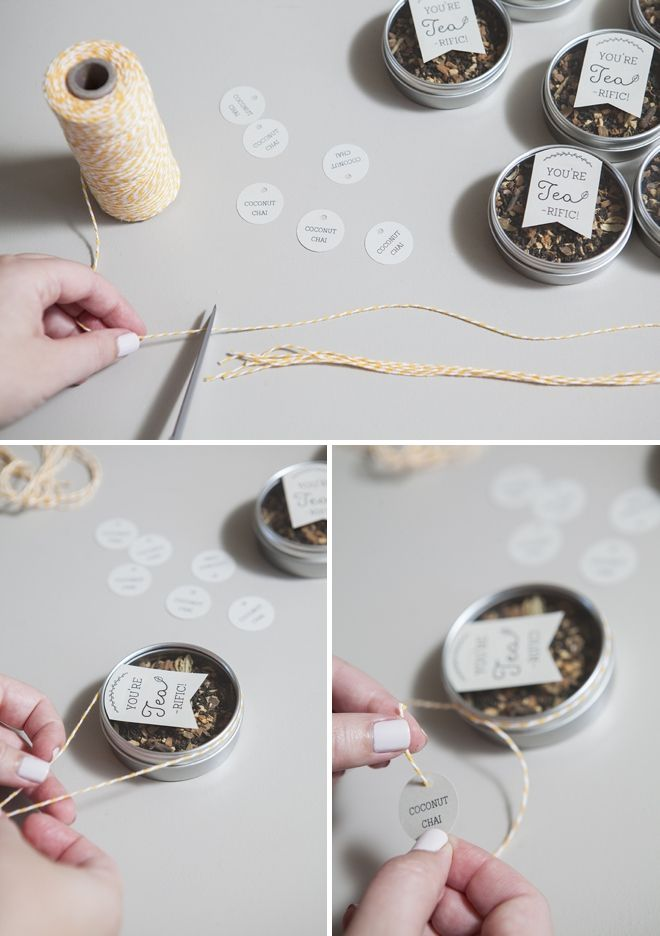 Make your own tea tin wedding favors with our free tag downloads!
