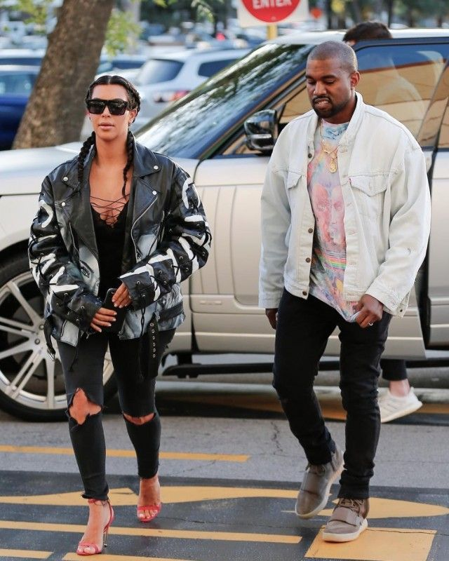 Kanye West Out With Kim Kardashian In Levi's Jacket, Vintage Pink Floyd T-Shirt And Yeezy Boost Sneakers
