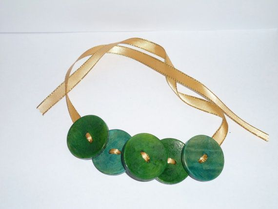 Stunning green necklace made with buttons by WillyNo on Etsy, $15.00
