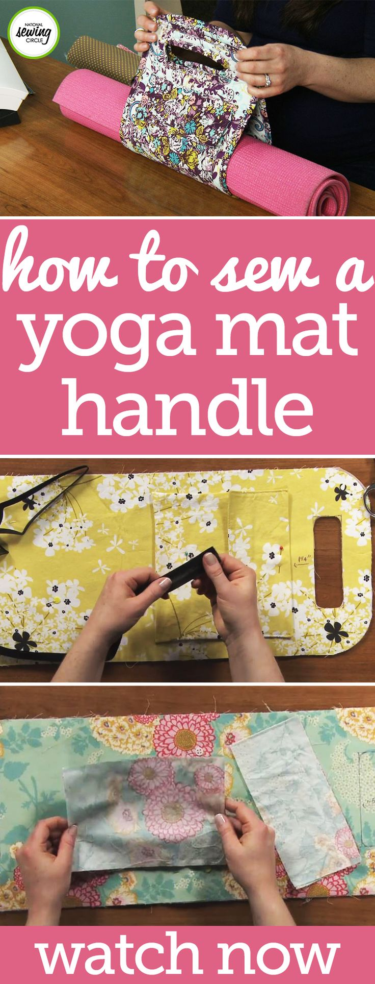 Carry your yoga mat to class in style with a fun carrying handle complete with a velcro pocket! Follow along as Stacy Grissom shows you how to measure for and make your handle using only a small amount of fabric, some fusible fleece, and bias tape. This easy to construct handle can be simply wrapped around your yoga mat for transport, or the design also allows you to slip one handle through the other in order to hold it tighter.
