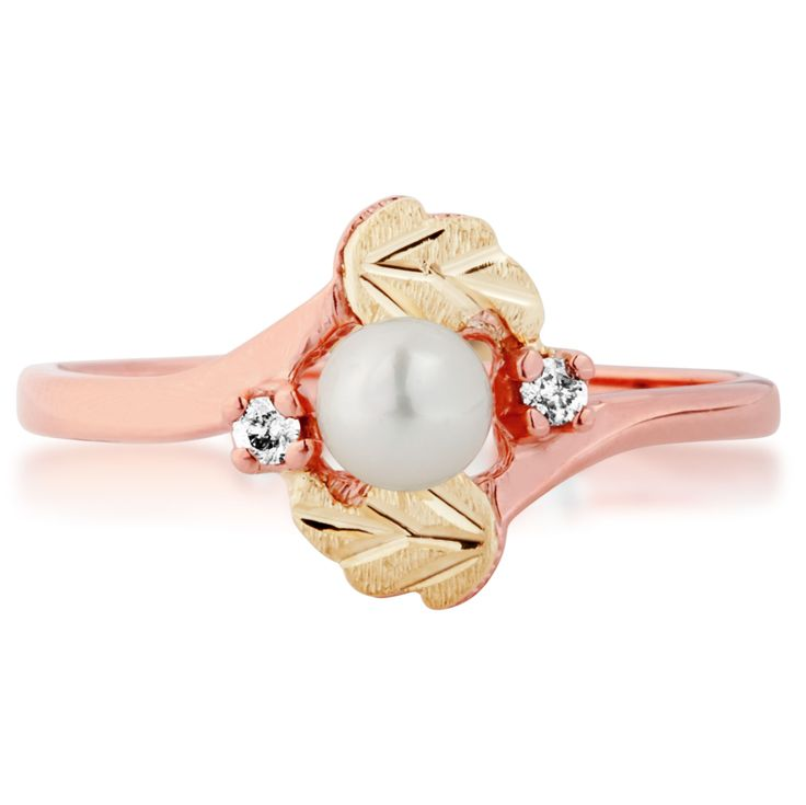 Product Name : Ladies Black Hills Gold Pearl Ring in Pink Gold  Price : $ 217.50
