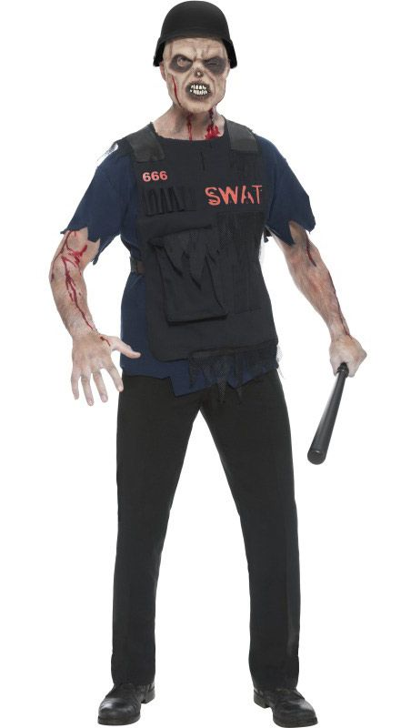 A zombie in a SWAT uniform is definitely one of the trickier zombie kills you will find around. Protect your zombie self in this cool costume, available for purchase now at http://www.heavencostumes.com.au/s-w-a-t-zombie-men-s-halloween-costume.html #SWAT #Zombie #ZombieCostume