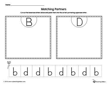 b d letter reversal match to uppercase worksheet for the classroom worksheets beginning. Black Bedroom Furniture Sets. Home Design Ideas