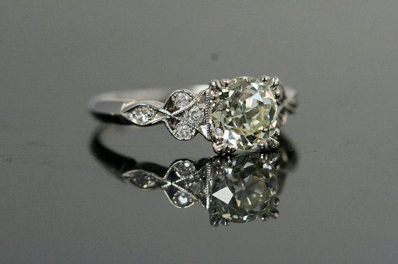 1.55ct  Old European Cut Diamond In Circa 1920 Art Deco Original Diamond Engagement ring in Platinum, EGL USA