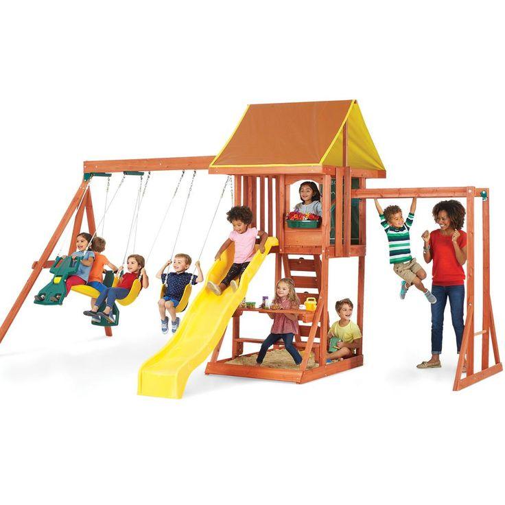 Kidkraft Cedarbrook Cedar Swing Set F23850 Wooden Playset Cedar Swing Sets Playground Set