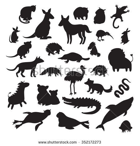 Australian animals silhouettes, isolated on white background vector illustration. Big vector set. Preschool, baby, continents, drawn, educations