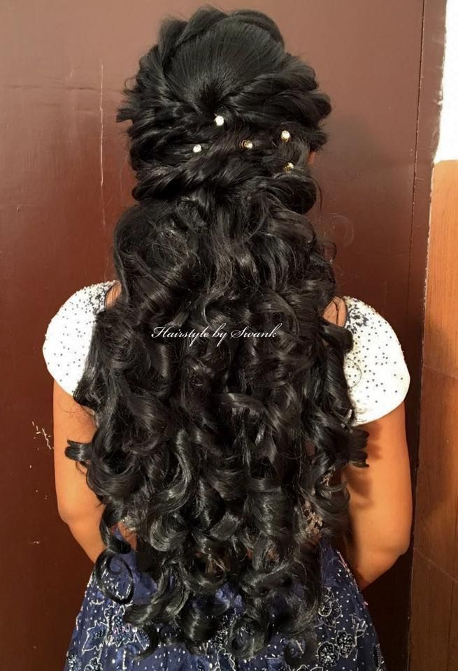 Cascading Curls Big Bridal Curls For Reception Hairstyle By Swank Bridal Hairstyle Rece Hair Styles Bridal Hairstyle For Reception Indian Bridal Hairstyles