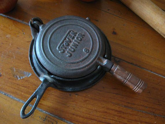 Vintage Stover Junior #8 Waffle Maker 1920s Cast Iron  Wood Handles Just Like Mom's Toy  Cookware Collectible Display Country Farmhouse