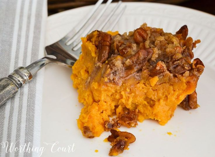 The crumbly pecan and brown sugar topping on this sweet potato casserole almost make it qualify as a dessert    Worthing Court