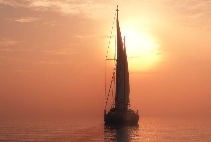 Фотографии Море 3D Графика Яхта Парусные