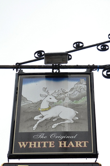 The White Hart Pub Sign in Ringwood, Hampshire, England.