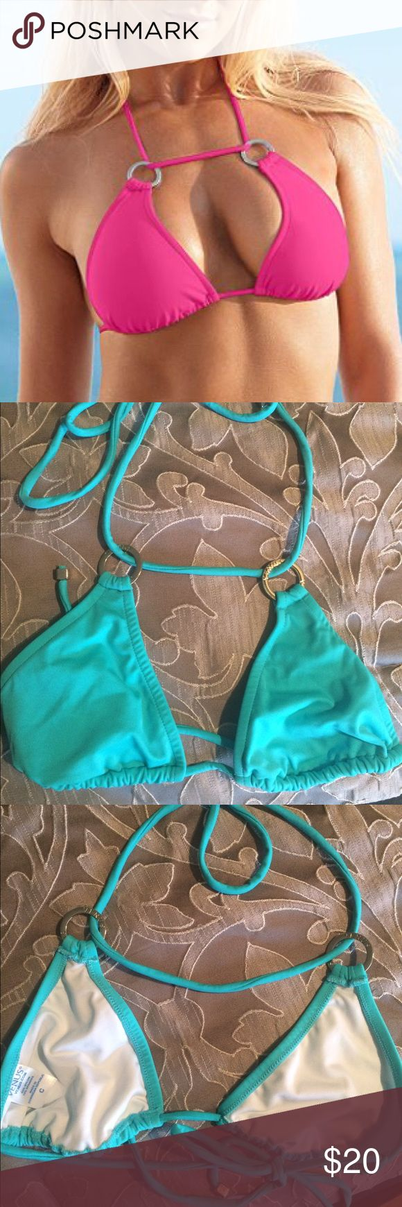 Blue multi-way halter bathing suit top Brand new never worn, it doesn't have tags. The one I am selling is an Agua blue top (not pink) Originally purchased from Venus. It says it's a size 36c but it runs small and it isn't padded so it didn't work for me but it's a cute style. It ties at the neck and on the back. Venus  Swim Bikinis