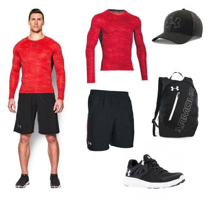 Pánské sportovní oblečení Under Armour - kompresní tričko, kraťasy, batoh, čepice a obuv