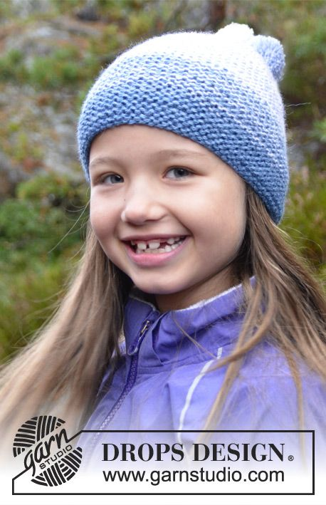 """Free pattern: Knitted DROPS hat with stripes in 2 strands """"Baby Alpaca Silk"""". #DROPSDesign #AlpacaParty"""